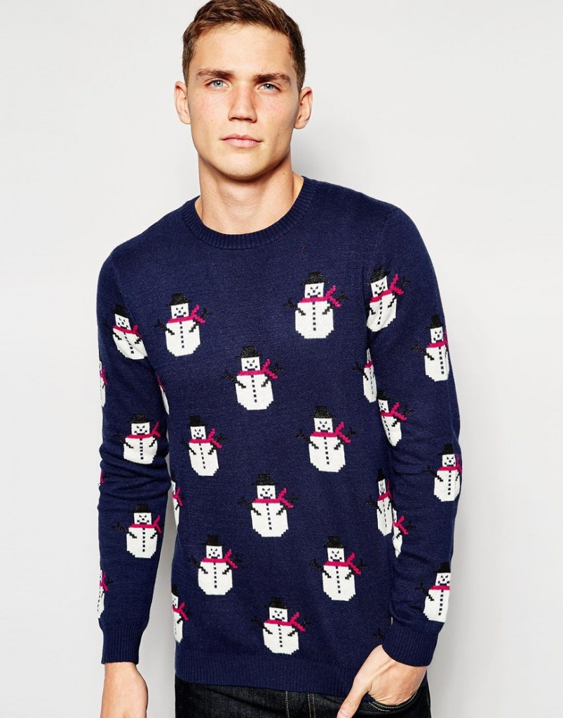 ASOS - Pull de Noël en cachemire, motifs « bonhomme de neige » 52,99 €