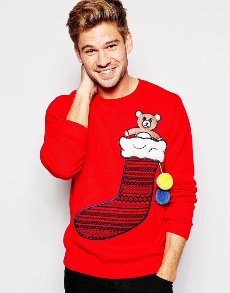 ASOS - Pull de Noël avec chaussette à remplir (modèle porté par Jean-Jacques Bourdin)